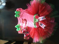 Strawberry shortcake theme birthday party 5 year old tutu set.   Three pc $35 by Veronica Arreola.