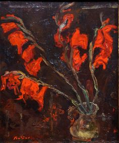 The Athenaeum - Gladiolas (Chaim Soutine - ) Gouache, Chaim Soutine, Painted Vases, Painting Still Life, Famous Artists, Abstract Expressionism, Painting Inspiration, Les Oeuvres, Flower Art