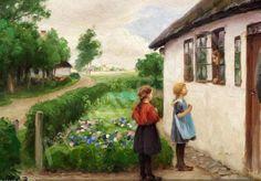 Little Girls Visiting ~ Hans Andersen Brendekilde ~ (Danish: 1857-1942)