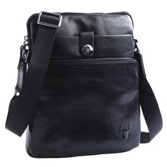 This beautifully crafted, quality leather messenger bag is versatile and functional. It is a great size for keeping your everyday essentials organized and right at your fingertips. It is worn across the body with an adjustable cloth strap.  This medium satchel is made from midnight black genuine, shiny leather with silver metal styling details. It features two outer zipper pockets along with one outer flap pocket secured by a silver metal clasp. The main zipper compartment is cloth lined…