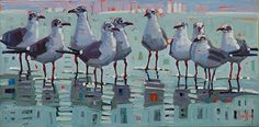 """Beach Gathering,"" by Rene Wiley by Rene' Wiley Gallery Oil ~ 15 x 30"