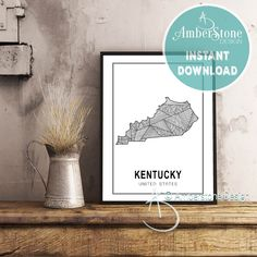 KENTUCKY ART PRINT, Instant Download, Kentucky Print, Kentucky State Print, Printables, Black and White Print, Kentucky Art Prints by AmberstoneDesign on Etsy Black And White Printer, Black White, Stock Photo Websites, Nursery Letters, Photo Store, California Art, Amber Stone, Typography Art, Minimalist Art