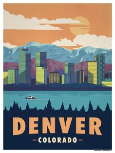 Travel Poster from IdeaStorm Denver Colorado Vintage National Park Posters, Party Vintage, Vintage Ski, Voyage Usa, Wpa Posters, Film Posters, Tourism Poster, Art Graphique, Travel Themes