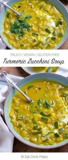 Turmeric Zucchini and Coconut Soup - this delicious anti-inflammatory soup is paleo, dairy-free, and vegan friendly. AIP friendly too if you omit curry powder and pepper. Paleo Soup, Vegan Soups, Healthy Soup, Healthy Eating, Soup Recipes, Vegetarian Recipes, Cooking Recipes, Healthy Recipes, Cooking Rice