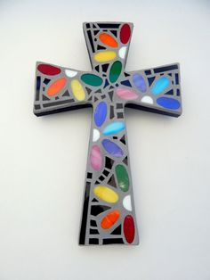 "Mosaic Wall Cross, Rainbow Floral Design, ""Daisies"", Handmade Stained Glass Mosaic 12"" x 8"" by GreenBananaMosaicCo"