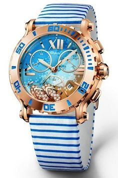Pretty nautical beach watch in blue, white and gold