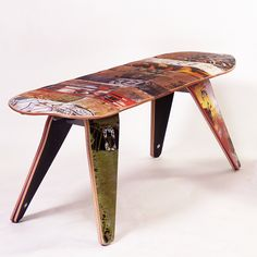 Recycled Skateboard Two Seater Bench by Deckstool