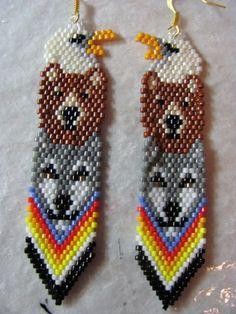 Items similar to Hand Beaded Eagle, bear, wolf totem earrins on Etsy Beaded Earrings Native, Beaded Earrings Patterns, Native Beadwork, Native American Beadwork, Indian Earrings, Bead Earrings, Native Beading Patterns, Seed Bead Patterns, Diy Bead Embroidery