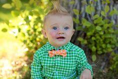 Modern Baby Bowtie - Tangerine Orange Dot Toddler Bowtie