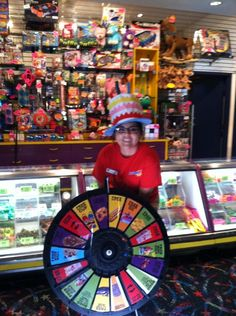 You too can have a chance to spin the prize wheel! Just book your birthday party with us. Cynthia is waiting to take you on your magical ride. Buy this Prize Wheel at http://PrizeWheel.com/products/tabletop-prize-wheels/tabletop-black-clicker-prize-wheel-18-slot/.