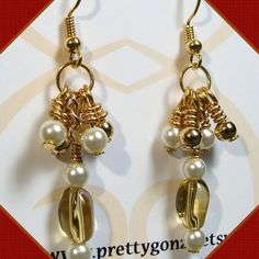 Pearl and Amber Cluster Earrings   PrettyGonzo - Jewelry on ArtFire