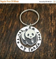 You're My Panda Bear, Animal Key Chain, Hand Stamped Presents, Gifts for Her, Anniversary, Couple Jewelry, Panda Bear Charm, Valentine's Day