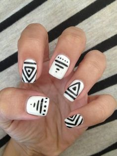 tribal black and white nails
