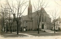 Vintage postcard of the Methodist Church in Alma, Michigan, I would go to church here w/ my Grandma and Grandpa. My Mom and Dad got married in the chapel.