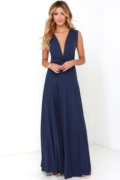 1c6c6db226cb Convertible dress - Versatility at its finest, the Tricks of the Trade Navy  Blue Maxi Dress knows a trick or two! Long fabric lengths wrap into several  ...