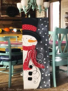 DIY Wood Signs - How to Make a Snowman Painting on Wood - Weihnachten - Noel Chrismas Christmas Wood Crafts, Christmas Signs Wood, Outdoor Christmas, Christmas Art, Christmas Projects, Snowman Decorations, Christmas Decorations To Make, Holiday Decor, Holiday Crafts