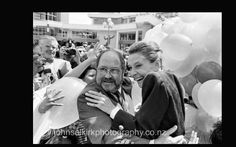 Acting Auck mayor Phil Warren with Audrey Hepburn, Auckland 1990.  John Selkirk