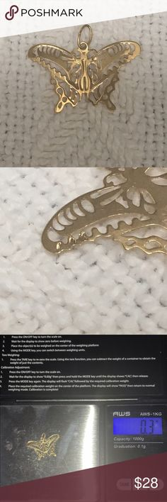 Solid 14k yellow gold butterfly pendant Very pretty 14k gold butterfly pendant.  Solid 14k yellow gold, stamped.  Intricate cut out details. Pendant is about an inch across and .3 grams. Jewelry Necklaces