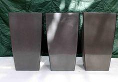 3 high gloss dark grey tall planters