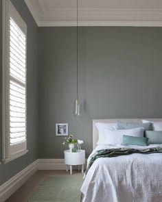 Ochre Bedroom, Gray Bedroom Walls, Grey Walls Living Room, Serene Bedroom, Bedroom Decor, Light Grey Walls, Green And Grey, House Design, Eggshell