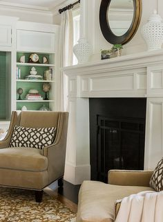 Light Brown Wingback Chairs with Brown Trellis Pillows