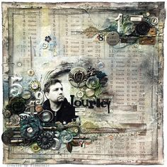 Wander - Tim Holtz/Ranger by finnabair, she used chain, key, and hinge to ground pic and top embelly