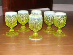 6 Antique Opalescent Vaseline Glass Moon and Stars Goblets-Maker Unknown  | eBay