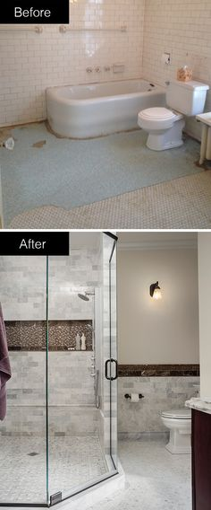 Before & After idea: A spacious shower and sleek tile work transform this bathroom.