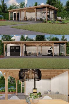 Backyard Sheds, Backyard Patio Designs, Backyard Landscaping, Backyard Bar, Garden Shed Interiors, Garden Lodge, Outdoor Rooms, Outdoor Decor, House Extension Design