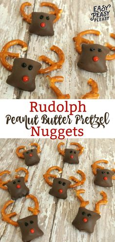 Super cute and easy 5 Ingredient Rudolph Peanut Butter Pretzel Nuggets are the perfect Christmas Treat! #christmastreat #rudolph #rudolphtreat #rudolphrecipe