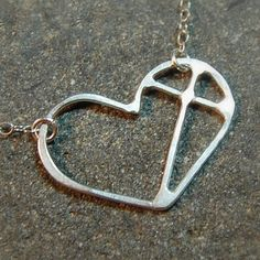Small Cross Heart  Sterling Silver Individually by Laurel Peters