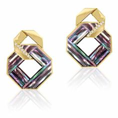 Knot earrings in yellow gold with 7.8 cts. t.w. mother-of-pearl and diamonds, $1,500; Nostalzia