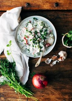 A fresh, cooling cucumber-yogurt salad with tomatoes, herbs, jalapeño and lemon. Perfect with Indian or Middle Eastern food. Indian Cucumber Salad, Cucumber Yogurt Salad, Indian Salads, Indian Dishes, Indian Food Recipes, New Recipes, Salad Recipes, Cooking Recipes, Healthy Recipes