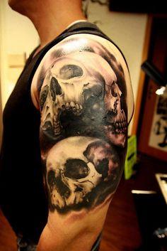 Creepy Tattoos, Skeleton Tattoos, Skull Tattoos, Black Tattoos, Body Art Tattoos, Sleeve Tattoos, Tatoos, Tattoos Arm And Hand, Left Arm Tattoos