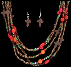 Silver Strike Beaded Cross Earring and Necklace  AT COWGIRL BLONDIE'S WESTERN BOUTIQUE