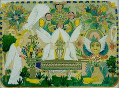 Art of the Covenent, 1966, oil, ink on canvasboard, American, Minnie Evans (self-taught)