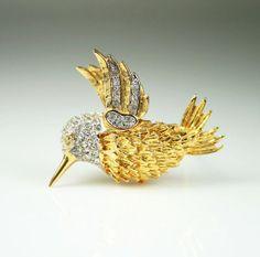 Vintage Brooch Hummingbird Pave Rhinestone Gold by zephyrvintage,  #vintagejewelry #vintagebrooch #hummingbird #vintagebirdbrooch #figuraljewelry #figuralbrooch #rhinestonebrooch #giftsforher #holidaygifts