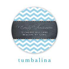 Chevron Chalkboard Baby Blue Round Return Address Sticker | Notepourri