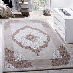 Teppich Wohnzimmer Klassisch Ornament Abstrakt Design Meliert In Beige Creme