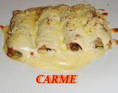 Canelones de acelgas con salsa de queso (SIN PASTA)