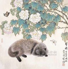 Japanese Painting, Chinese Painting, Asian Cat, Chinese Artwork, Cat Plants, Oriental Cat, Japanese Cat, Art Japonais, Inspiration Art