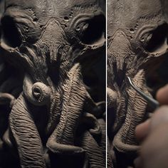 by Olivier-Villoingt on DeviantArt Cthulhu, Creature Design, Wood Carving, Sculpture Art, Happy Halloween, Sculpting, Elephant, Arts And Crafts, Deviantart