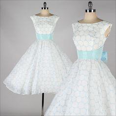 vintage 1950s dress . white chiffon . sky by millstreetvintage