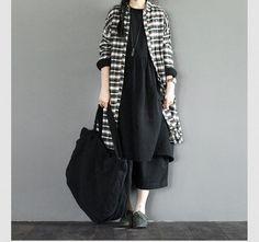 White Grid Pattern Cotton Shirt Long Free Style Loose Blouse Women Clothes