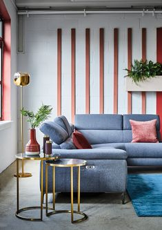 Mid century modern is uplifted with pops of colour and metallic accents. Get the Retro Revival look.