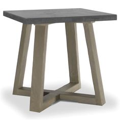 Bekah Industrial Rustic White Oak Cement End Table   Kathy Kuo Home