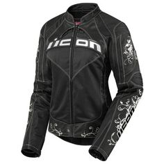 Icon Contra Speed Queen Ladies Textile Motorcycle Jacket Ladies Small (size 7) Black