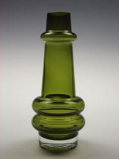 Riihimaki olive green glass vase designed by Tamara Aladin