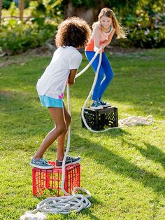 Get into classic camp mode with a twist on tug-of-war called Stumps. Two players stand on upside-down milk crates set 6 to 12 feet apart on soft ground. Players pull or relax a rope, trying to force the other to step off her crate. Strategy trumps strength: a hard tug can be neutralized by a loosened grip, and sudden slack can make the tugger teeter.