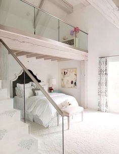 Open plan bedrooms are so nice and bright
